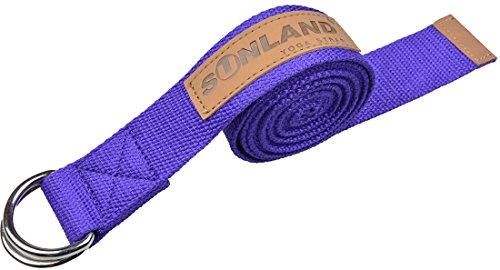 Sunland cintura da yoga in cotone stretch strap D-Ring della vita della cinghia del piedino fitness training regolabile 244cm viola