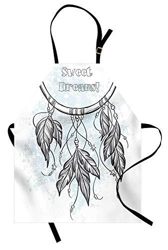 (Sweet Dreams Schürze, Doodle handgezeichneten Dream Catcher Ethnic Aztec Kultur inspiriert Design, Unisex-Küche Latzschürze mit verstellbarem Hals zum Kochen Backen Gartenarbeit, grau und hellblau)