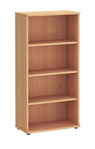 Get Office Hippo Fraction Plus Bookcase, 160 cm (H) x 80 cm (W) x 40 cm (D) – Beech on Amazon