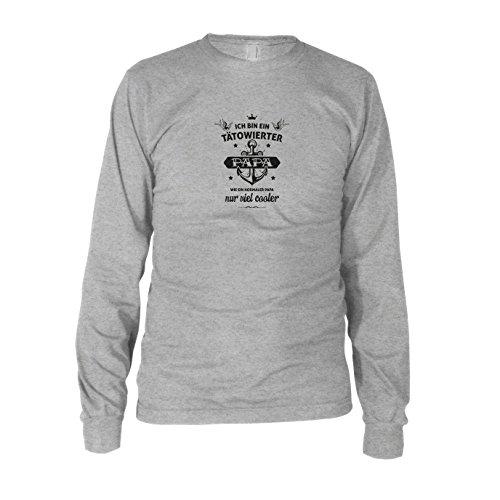 Tätowierter Papa - Herren Langarm T-Shirt, Größe: XL, Farbe: grau meliert