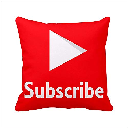yuehu Youtube Pillow Cover Youtube Pillow Case Social Media Logo Youtube Throw Pillow Cover Pillowcase Square Zippered Pillowcase (, Subscribe) Housses de Coussin (40cmx40cm)