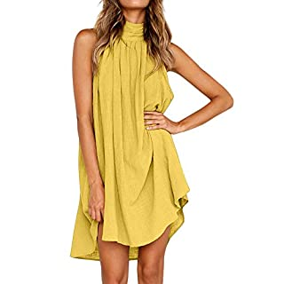 Gofodn Dresses for Women Plus Size Summer Solid Casual Sleeveless Loose Holiday Irregular Beach Party Dress 7 Color Yellow