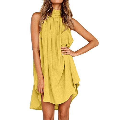 BHYDRY Damen Urlaub unregelmäßige Kleid Damen Sommer Strand ärmelloses Partykleid(Medium,Gelb) - Herren Olive Grünes Kleid Hose