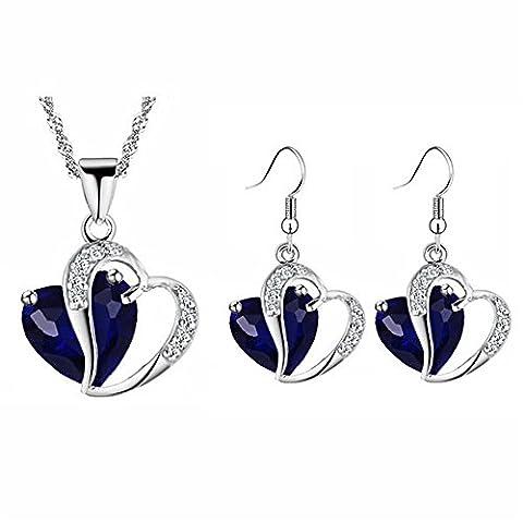 Sapphire Dark Blue Zircon Two Hearts Jewellery Set Drop Earrings & Necklace S806