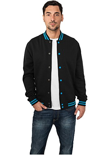 Contrast College Sweatjacket blk/tur XL