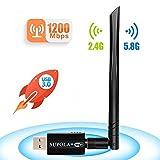 SUPOLA USB WiFi Adaptador 1200Mbps, WiFi Antena 5dbi USB 3.0 Wireless Adaptador Dual Band...