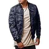 Honestyi Jacken, Mäntel & T-Shirt Männer Herbst Winter lässige Camouflage Reißverschluss Lange Ärmel Jacke Mantel Top-Bluse(Grau,M)
