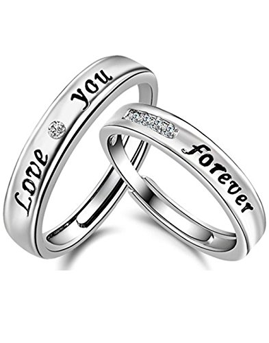 Karatcart Platinum Plated Elegant Love Forever Couple Adjustable Band Ring