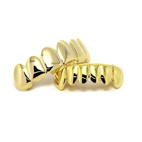 Preisvergleich Produktbild tsanly Neue Benutzerdefinierte Fit 14K Gold Grillz versilbert Grills Zahn Kappen Top & Bottom Grill Set