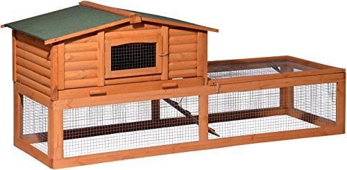 """dobar 23176 Großer Kaninchenstall """"Blockhaus"""" mit riesigem Freigehege, Hasenstall XXL aus Holz winterfest, 217 x 79 x 98.5 cm, braun"""