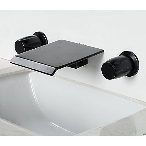 Palanca Dual TougMoo baño montado en pared cascada grifo bronce frotado aceite grifo mezclador de
