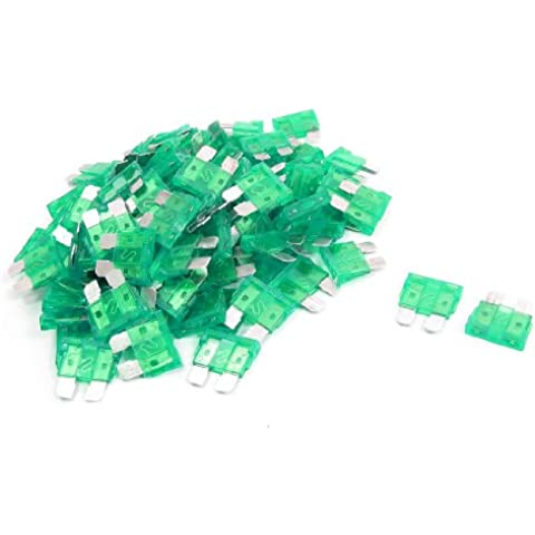 100 x Coche 30A 30A Verde Carcasa Dos Dientes Cuchilla Fusible
