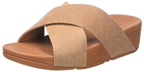 FitFlop Damen Lulu Cross Slide Shimmer-Denim Peeptoe Sandalen, Beige 542, 40 EU -
