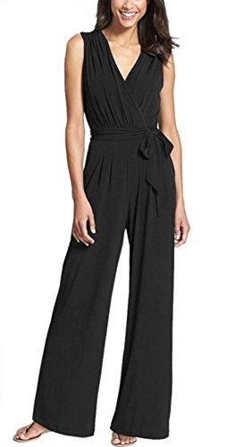 Hot!!Damen Kleid Jumpsuit Internet V Neck ärmelloses Verband Partei Overalls (L) (Bodysuit Classic)