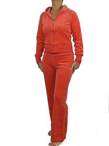 Love Lola Damen Velours Trainingsanzüge Damen Luxus Lounge Anzüge Hoodys Jogger Heart Designer-inspiriert, Orange - Burnt orange, L (Hoody Orange Sweatshirt Burnt)
