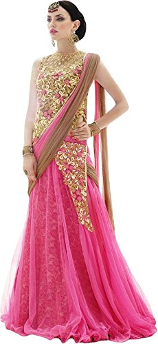 Good Quality Readymade Wedding Party Wear Elegant Latest Designer Bollywood Pattern Pink Golden Net Lehenga Choli For Women Girls By Designer Desk