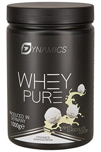 Dynamics Nutrition Whey Pure 1kg | Whey Isolate | Low Carb | Low Fat | Aspartam Frei | Hergestellt in Deutschland | Eiweißpulver zum mischen mit Wasser oder Milch | (Weiße Schokolade-Cocos) - Designer Whey Protein Mit Wasser