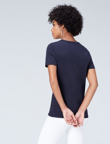 FIND Damen T-Shirt Crew Neck Blau (Blue Navy)