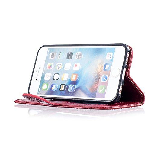 Etsue iPhone 6 Plus Coque, iPhone 6S Plus Housse, iPhone 6 Plus/6S Plus Portefeuille Coque ,Gaufrure Folio Luxe 3D en PU Cuir Gravée en Relief du Fleur Motif Protecteur Coquilles Bumper pour iPhone 6  Rouge