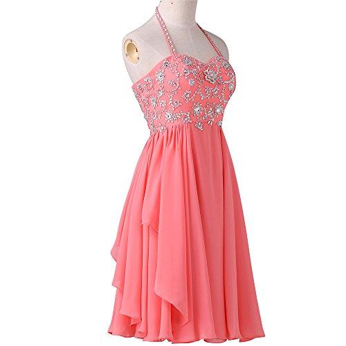 Bridal_Mall - Robe - Trapèze - Sans Manche - Femme Rouge - Corail