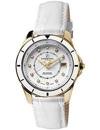 Design Christina London Energie Women's-Quarz-Uhr mit weißem Zifferblatt Analog-Anzeige und weiße Lederband 149GWW