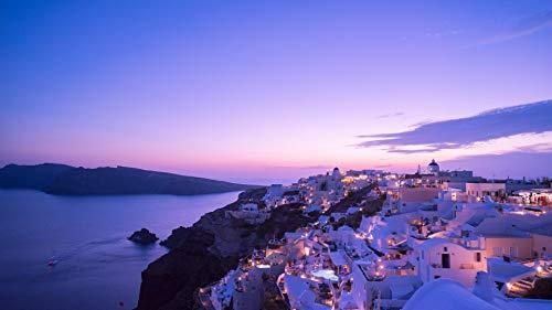 Msliuhuahua 1000 Teile Rätsel Lernspielzeug Für Kinder Und Erwachsene Griechenland Santorini Tiran Insel Nacht Haus Lichter Meer Sonnenuntergang Lernspielzeug für Kinder und Erwachsene -