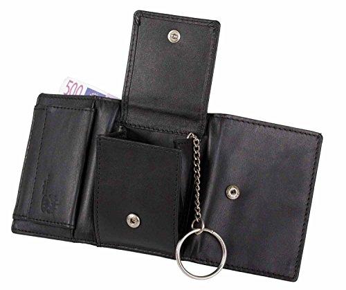 - Brown-leder-schlüsselring (Minigeldbörse Minibörse Leder schwarz stonebear original Rindleder)