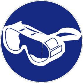 Gebotsschild aus Folie - Vollschutzbrille benutzen - Durchmesser 10 bis 40 cm