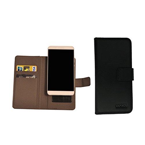 conze PU Leder Flip Case passgenau für ZTE Blade Vec 4G mehrfarbig Schwarz und Grau