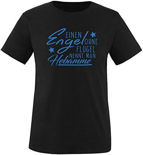 EZYshirt® Ein Engel ohne Flügel nennt man Hebamme Herren Rundhals T-Shirt Schwarz/Blau