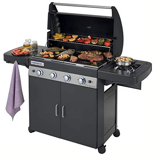 Campingaz Barbecue Gas 4 Series Classic LS Plus Dark DG Dual Gas Metano/Gpl, Grill Barbecue con 4 Bruciatori e 1 a Lato, Potenza 12.8 kW
