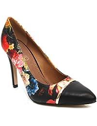 F11037A - Escarpins - talon aiguille - bout pointu - motif floral - Noir