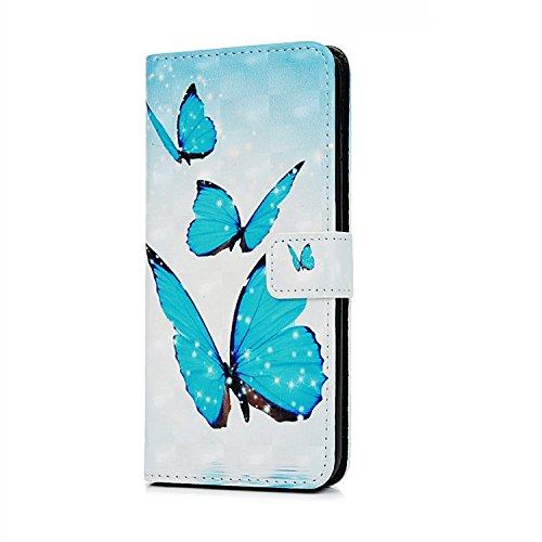 Cover iPhone 6S Plus 6 Plus Pelle, E-Unicorn Cover Custodia Apple iPhone 6S Plus 6 Plus Pelle Fenicottero Series Brillantini 3D Modello Portafoglio PU + TPU Silicone Morbido Bumper Retro Elegante Cope Farfalla