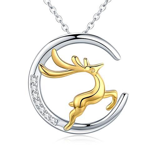 Collar de plata de ley S925 con diseño de luna, chapado en oro, diseño de reno y ciervo, con circonitas cúbicas blancas, ideal como regalo de Navidad