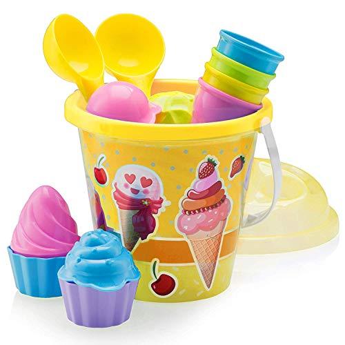 Deje que sus hijos elaboren una variedad de conos de helado con este juego de 14 cubos de Ice Cream Beach. ¡Esencial compañero de playa en verano! Construye tu propio puesto de helados en la playa o en la caja de arena. Lleve con usted el juego de cu...