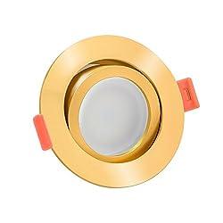 LED Einbaustrahler Aluminium rund 230V   extra flach 25mm   DIMMBAR   6W statt 70W   120° Abstrahlung & schwenkbar   warmweiß 2700K   8 Farben zur Auswahl (Gold)