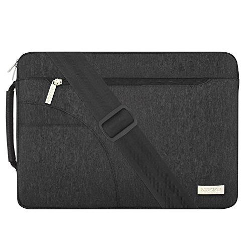 MOSISO Laptop Shoulder Bag Compatible 13-13.3 Inch MacBook Pro, MacBook Air, Ultrabook Netbook Tablet, Polyester Ultraportable Protective Briefcase Carrying Handbag Sleeve Case Cover, Black