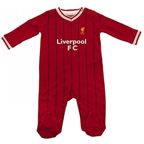 Gestickt Interlock (Liverpool FC - Baby Strampelanzug im Stil des Heimtrikots - Offizielles Merchandise - Geschenk für Fußballfans - Rot gestreift - 9-12Monate)
