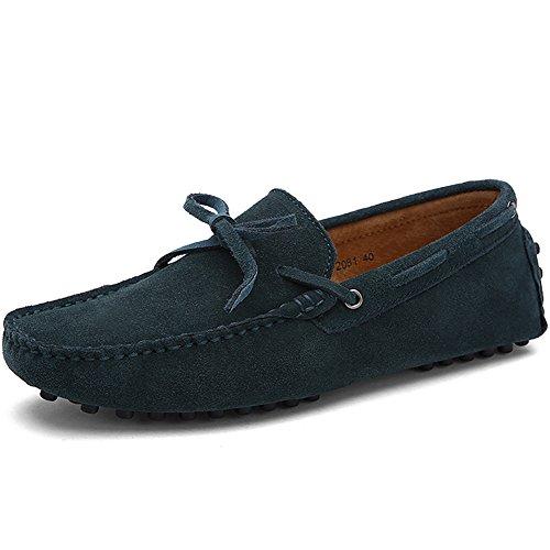 Rismart Hommes Confort Suede Mocassins Doux Cuir Véritable Chaussures de Conduite 3660M Vert