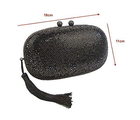 Blingustyle Swarovski ELEMENTS Crystal Clutch Bag with Tassel (black)