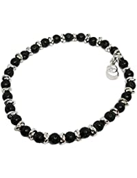 Cloto summer vibes Black Friday bracciale con pietra lavica nera 4mm e charm in argento 925 My Silver