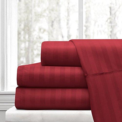 Burgund Stripe Kissenbezug Set (PC Diana Leinen 100% Baumwolle Bed Sheet Set–400Fadenzahl Baumwollsatin Weave–Natürlich, weich, 35cm tief Pocket Qualität Luxuriöse Betten–4-teiliges Set (Burgund Stripe Einzel))