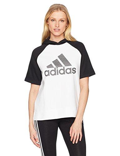 adidas Leichtathletik Fashion Damen Full Zip Short Sleeve Hoody, Damen, Weiß/Schwarz, Medium Short Sleeve Zip Hoodie
