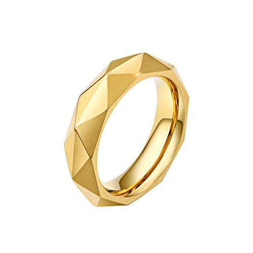 HIJONES Uomo Acciaio Inossidabile Diamante Taglio Brillante Anello, Oro Taglia 22 - Religiosi Diamante Wedding Band