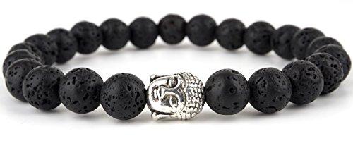GOOD.designs Buddhismus Perlenarmband aus echten Natursteinen und edler Buddha-Kopf Perle, Chakra-Schmuck für Damen und Herren, Yoga-bracelet (Lava)