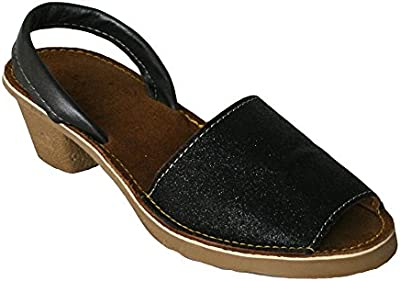 15010G - Sandalia ibicenca glitter con tacón negro