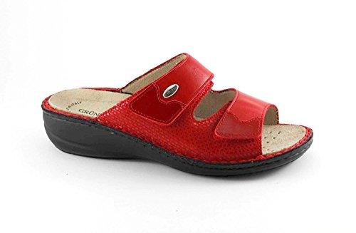 Grunland DARA CE0515 Pantoufles Rouge Dame Chicots Semelle Intérieure Amovible Rouge