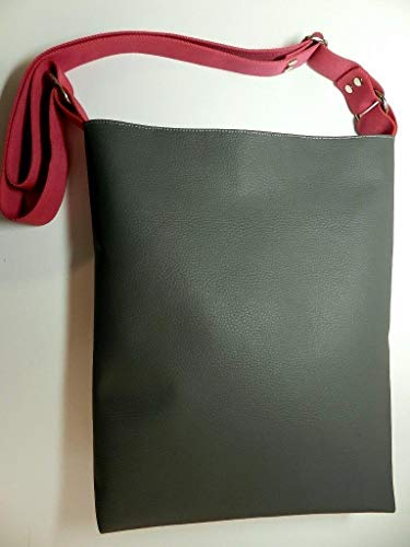 Umhängetasche aus Kunstleder - GRAU - und Innenstoff aus 100% Baumwolle mit Reißverschluss, Innentaschen, verstellbarem Gurt und Schlüsselband - Geschenk Weihnachten Geburtstag Kommunion Konfirmation & Firmung