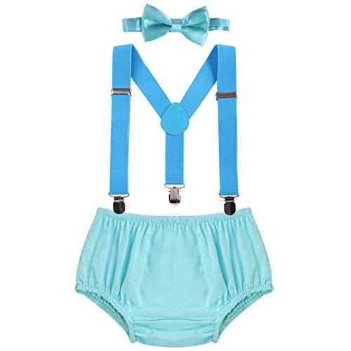 OBEEII Baby 1. / 2. Geburtstag Outfit Neugeborenen Kinder Bloomer Shorts + Fliege + Clip-on Hosenträger 3pcs Bekleidungssets für Foto-Shooting Kostüm (Einfach Teenager Halloween Kostüme)