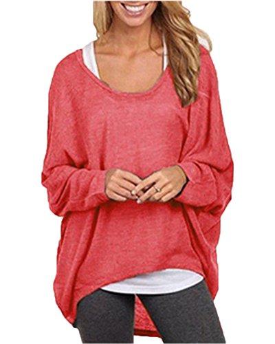 Mujeres Camiseta con Mangas Largas de Murciélago Cuello Redondo Camisa Blusa Suelto Jumper Pullover Sudadera Sweater Rojo XXL